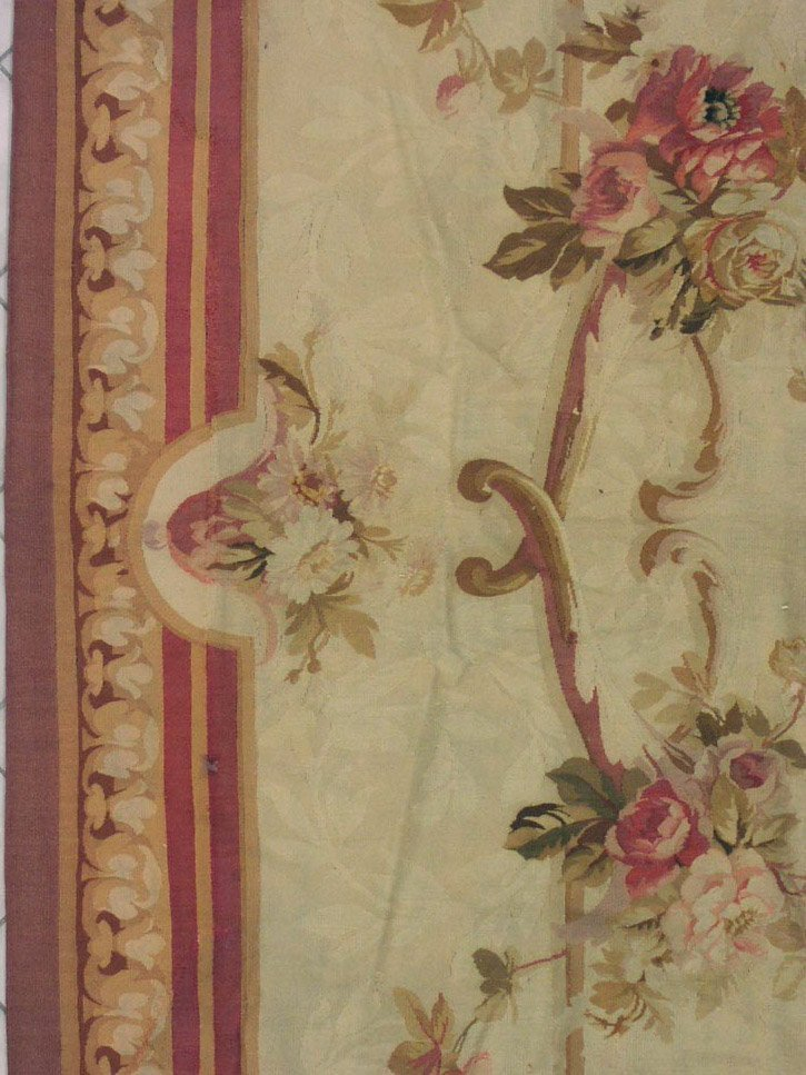 144: 19x22 SIGNED ANTIQUE 1890S FRENCH AUBUSSON RUG - 3