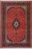 217: 4x7 SIGNED FINE PERSIAN KASHAN AREA RUG