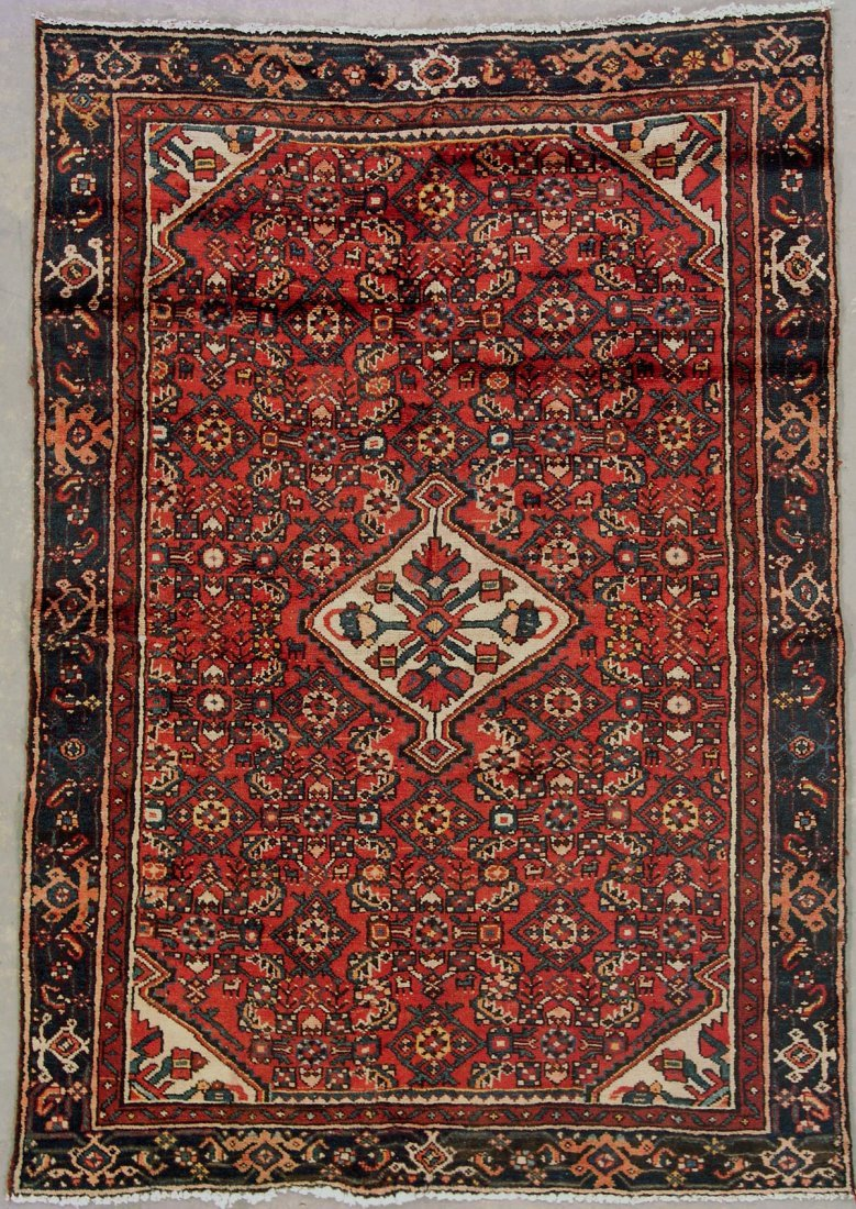 414: 4x6 ANTIQUE PERSIAN MALAYER AREA RUG WITH ANIMALS