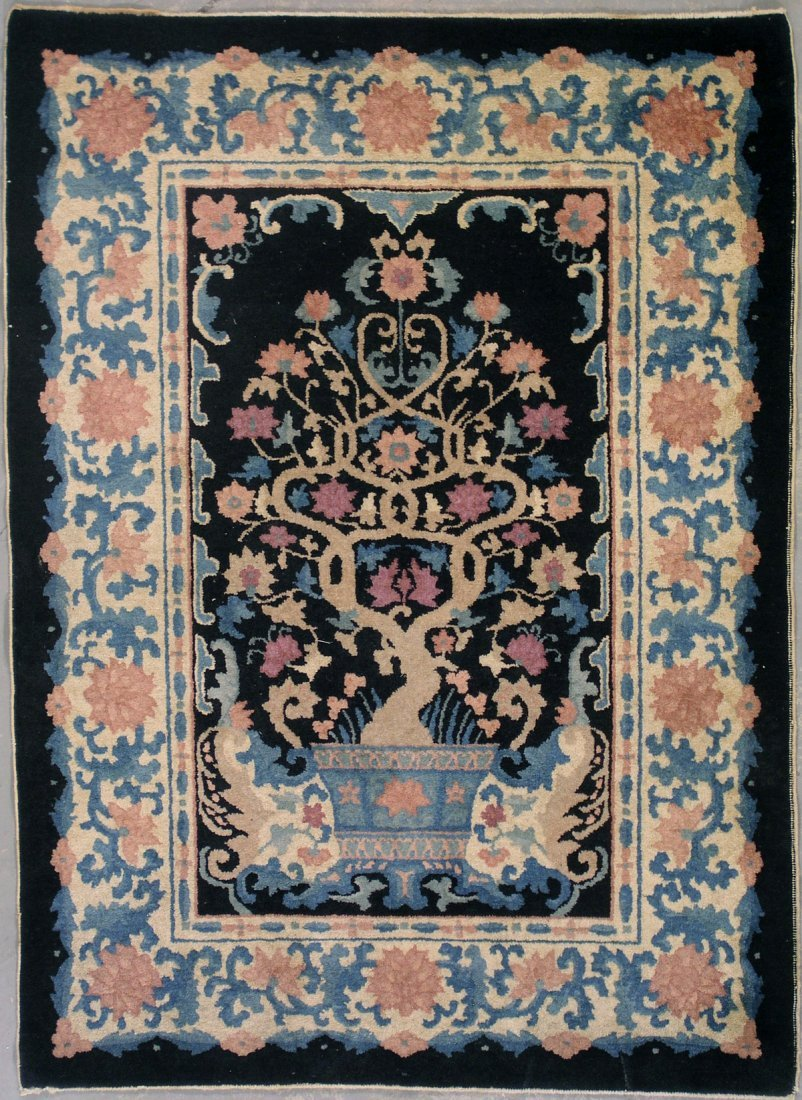 417: 4x5 ANTIQUE TREE OF LIFE CHINESE AREA RUG