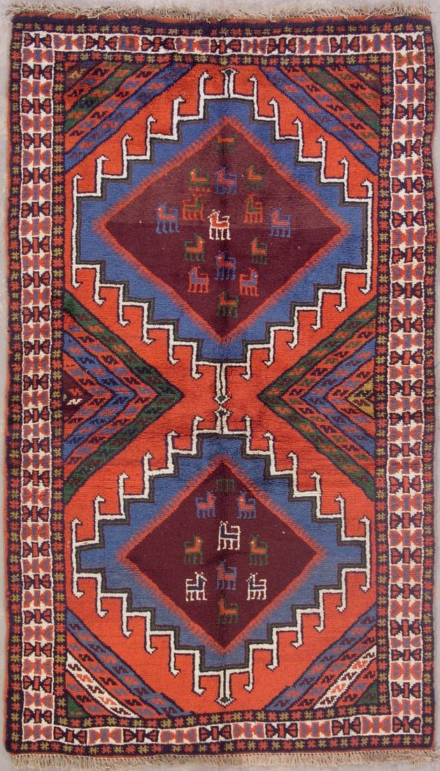 423: 4x6 DOGS PERSIAN TRIBAL AREA RUG