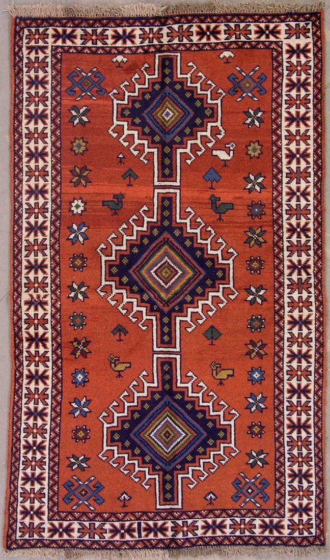 427: 4x6 BIRDS PERSIAN TRIBAL AREA RUG WITH ABRASH