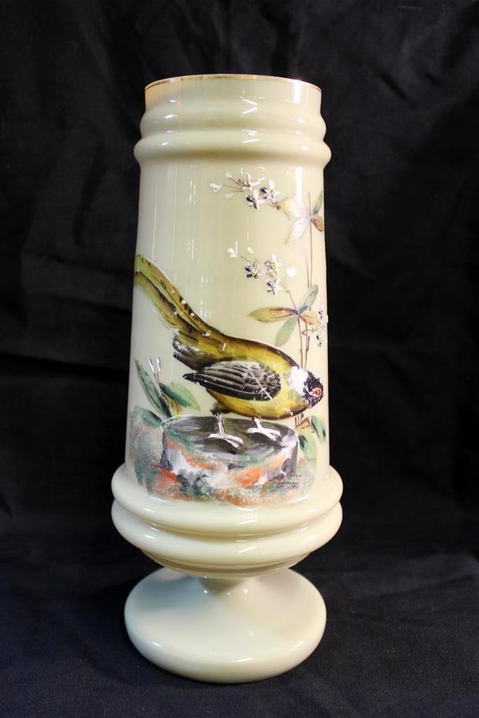 5: Antique Victorian Enameled Bird Fireglow glass Vase
