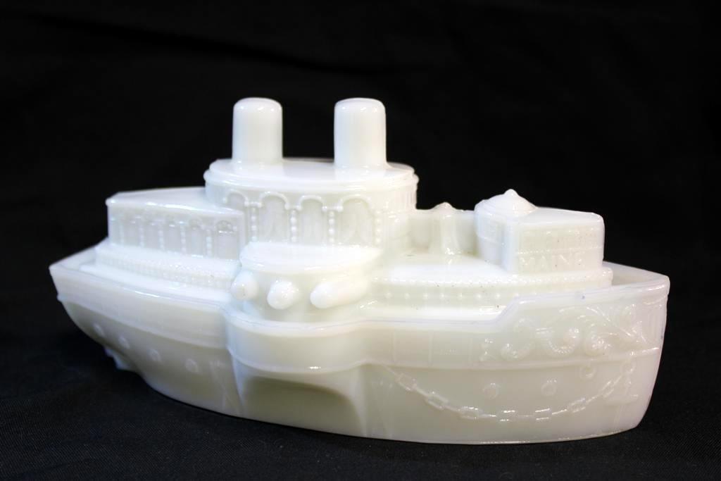 10: Antique USS Maine Battleship Milk Glass Dish