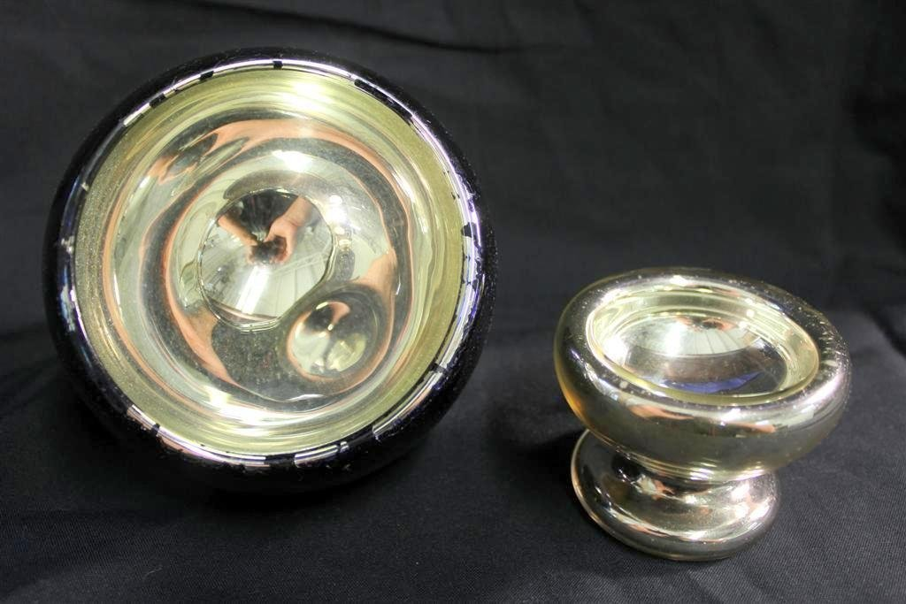 16: Pair of Antique Mercury glass items Reflector & Bow