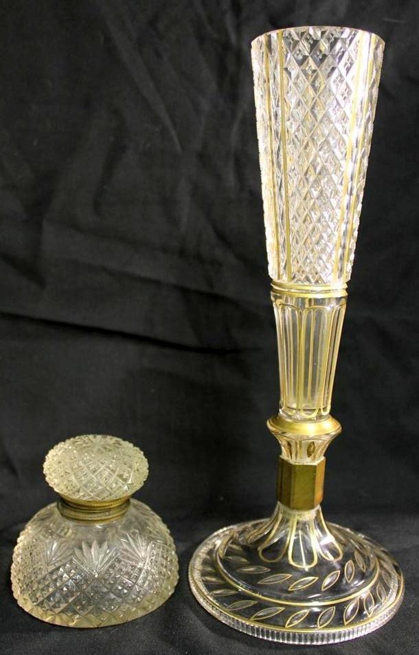 18: Antique Brilliant Cut glass Epergne vase & Inkwell