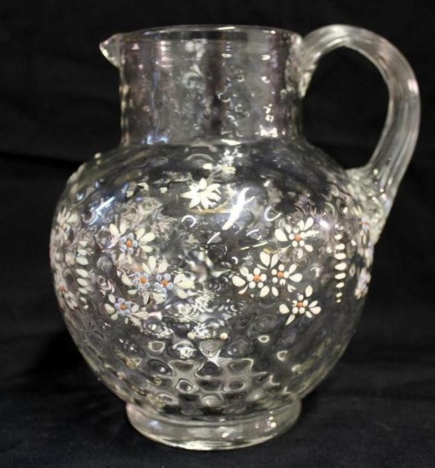 22: Victorian Enamel Diamond Quilt Blown Glass Pitcher