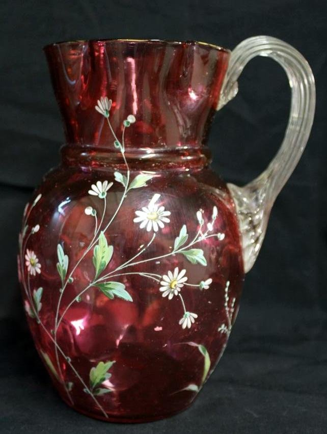 23: Moser Attributed Enamel Ruby Glass Pitcher