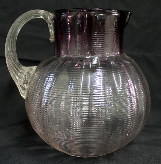 24: Victorian Amethyst to Clear Threaded Pitcher Moser
