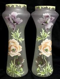 61: Pair Stunning Mont Joye Enameled Glass Vases