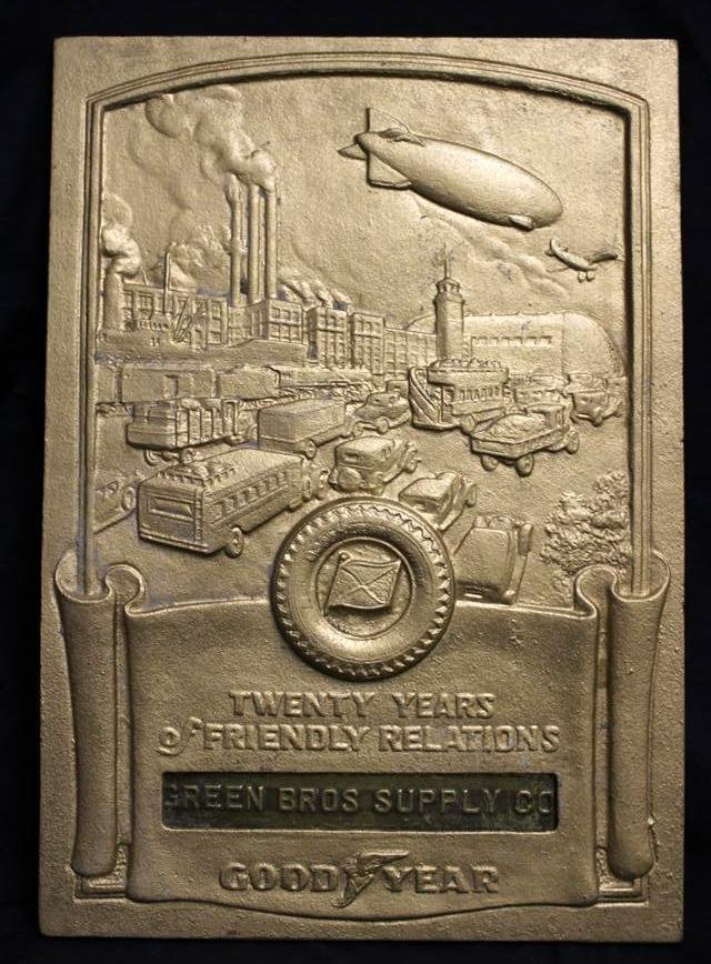 74: RARE Goodyear Iron 20 Years Dealers Plaque Award