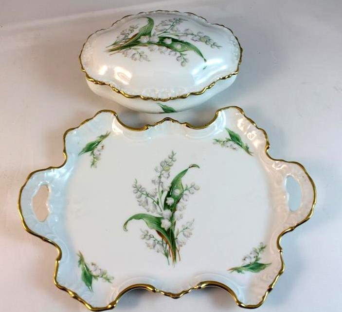 3: Chamart Limoges Painted Box & Tray dresser