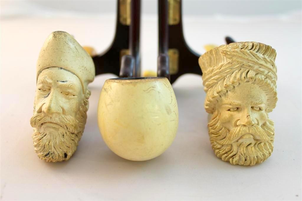 13: Antique Figural Head Face Meerschaum pipes