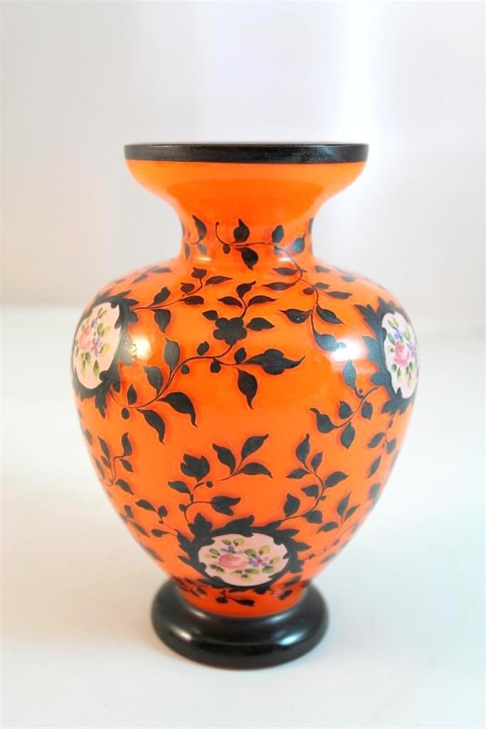 21: Czech Art Deco Enameled Tango Glass Vase