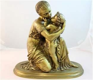 55: Mathurin Moreau Gilt Bronze Woman Cherub