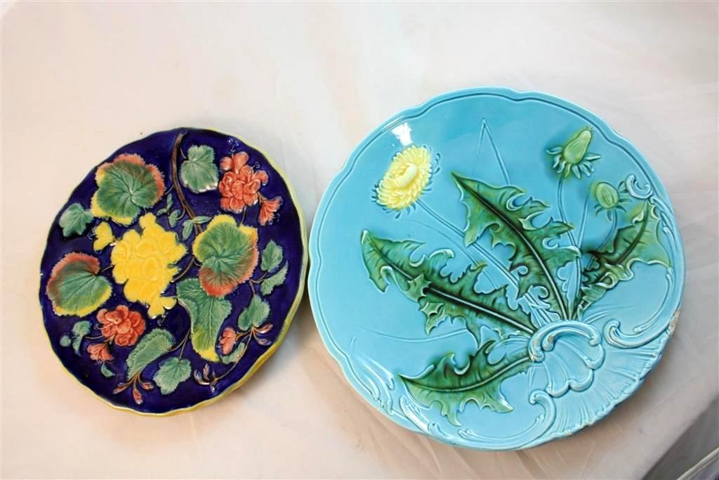 5: Continental Majolica Pottery Plates Foliage Flowers
