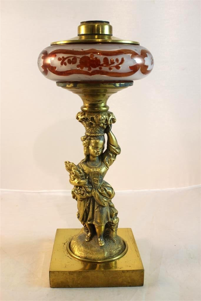 20: Victorian Figural Lady Ruby Flashed Oil Lamp Girl