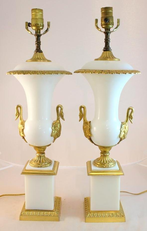 41: STUNNING French Empire Style Opaline Glass Lamps