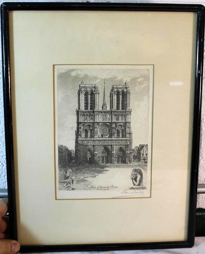 136: Leon Salles Original Etching Notre Dame De Paris F