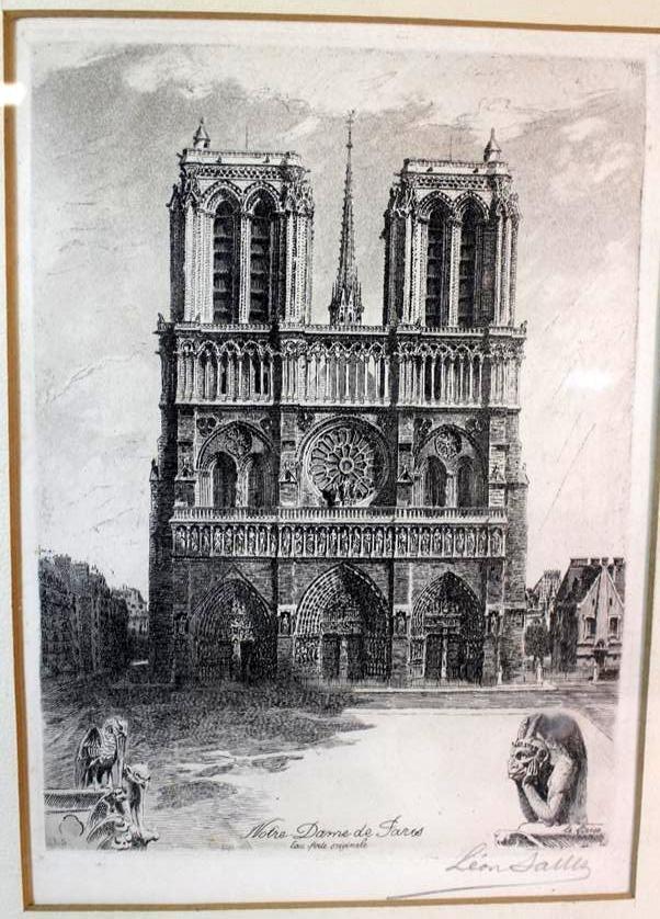 136: Leon Salles Original Etching Notre Dame De Paris F - 2