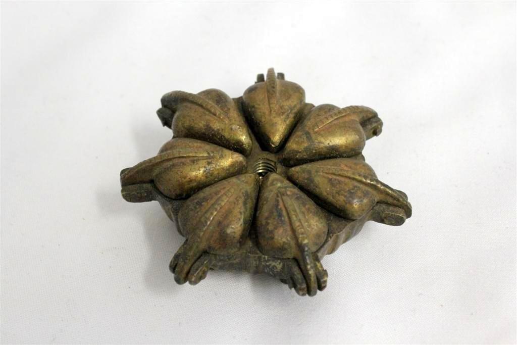Ornate India Brass Bronze Figural Bird Hinged Spice Box - 3