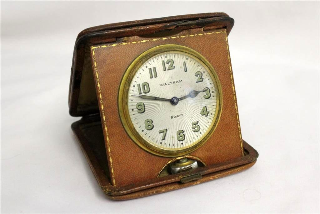 Vintage Waltham Leather Travel 8 Day Alarm Clock