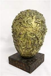 RARE 1970 Vivar Signed Brass Judaic Holocaust Sculpture