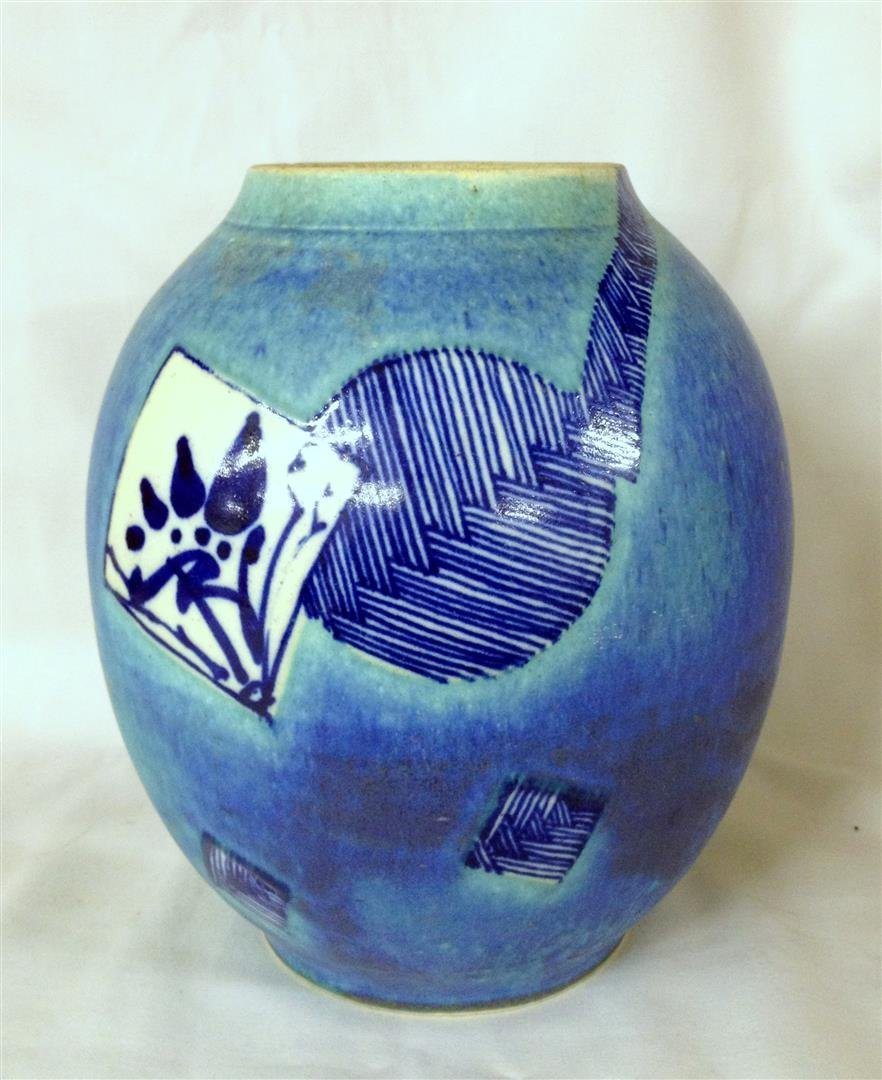 Vintage Asian Oriental Artist Signed Art Pottery Vase