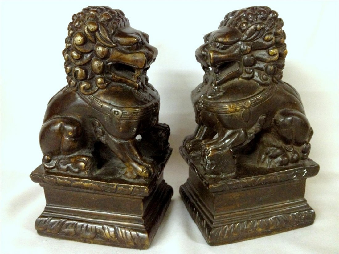 Pair of Bronze Chinese Foo Dog Sculptures