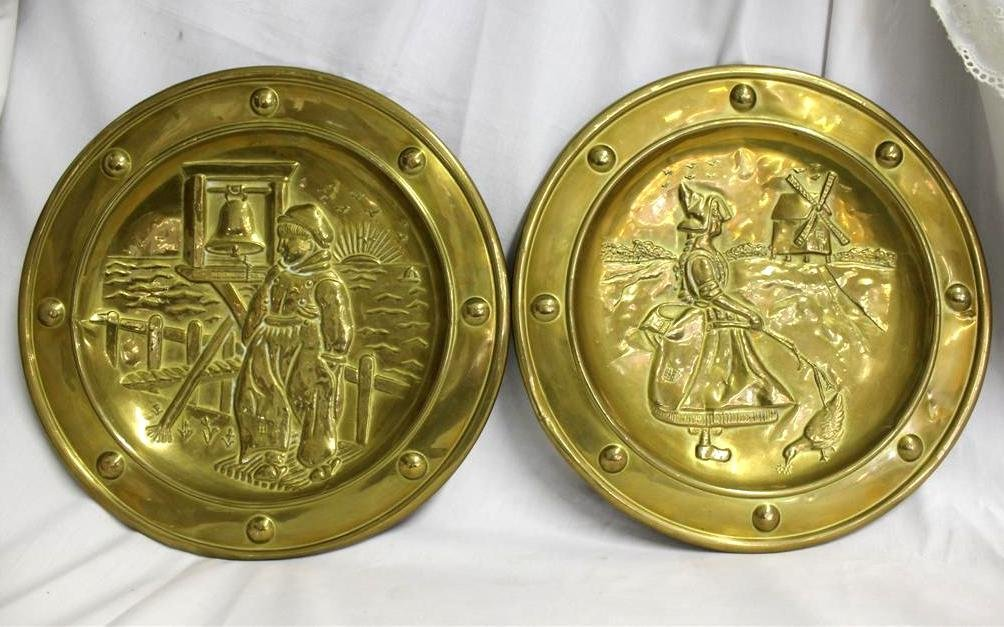 Pair of Vintage English Brass Dutch Boy Girl Wall Pocke