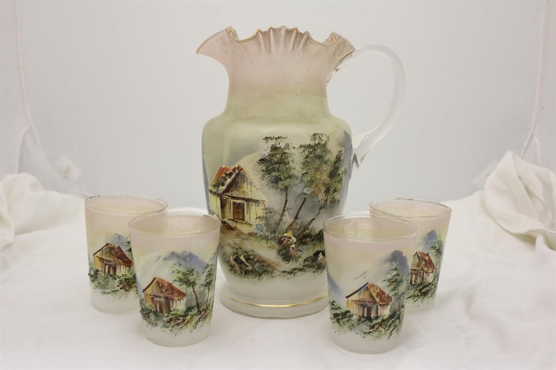 Unique Victorian Glass Pitcher Tumblers Cottage Mountai