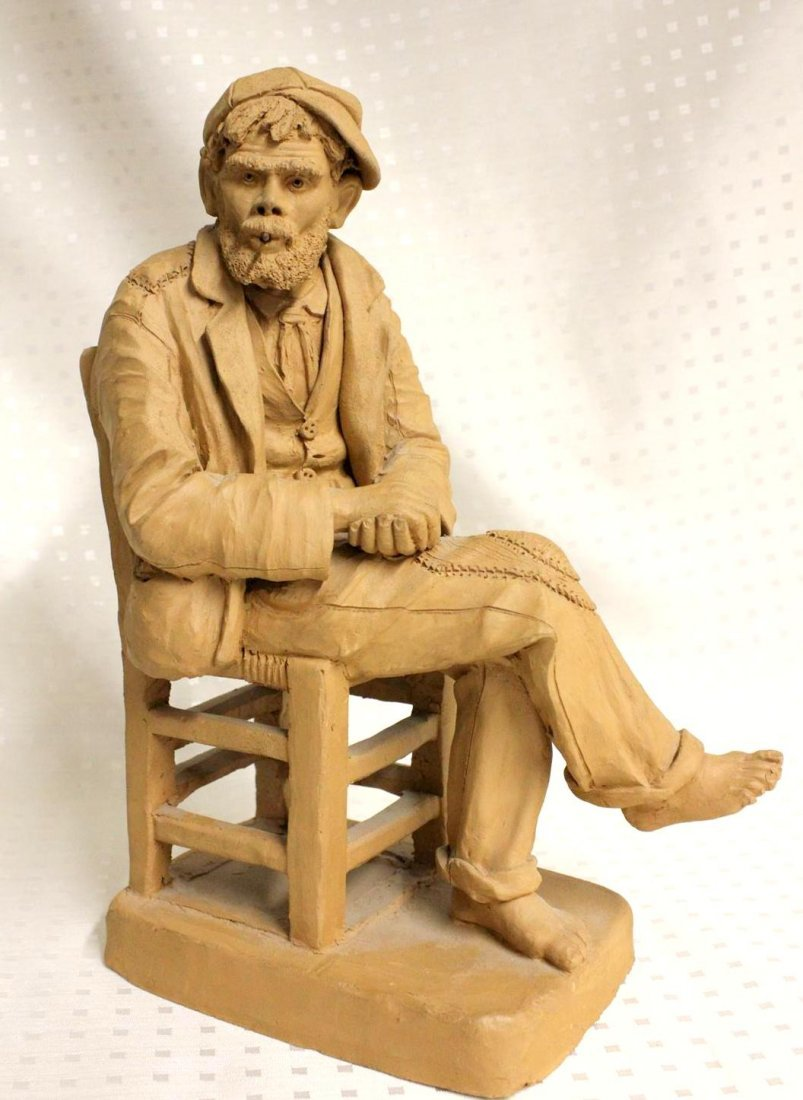 Exceptional Terra Cotta Figure Hobo Man Seated Smoking