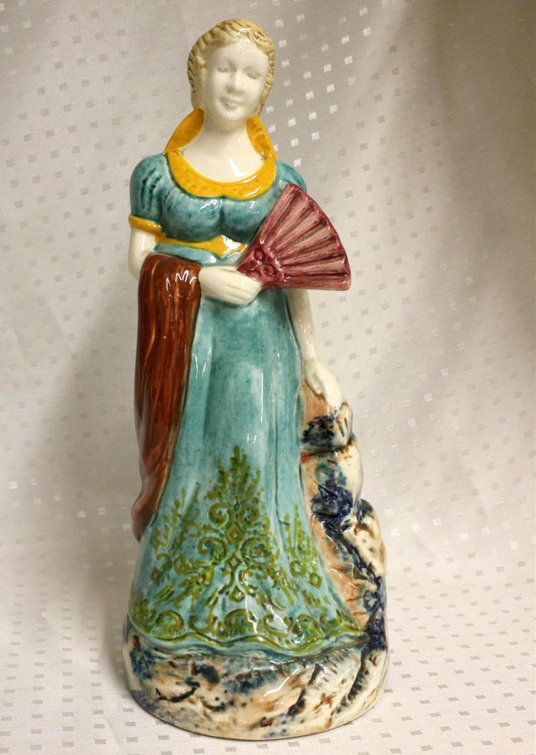 Fourmaintraux Desvres Faience Majolica Female Figure