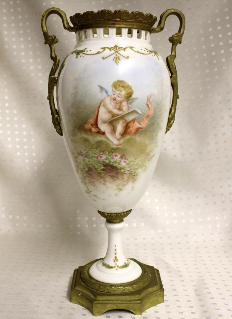Antique French Sevres Style Ormolu Mounted Vase Cherub