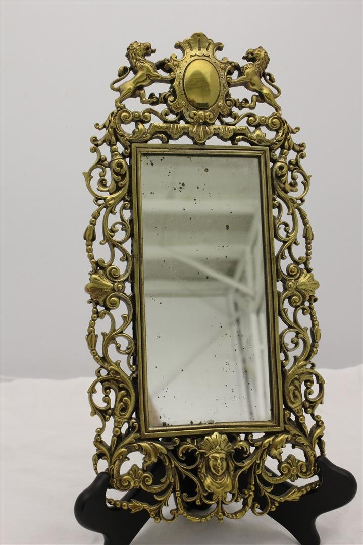 Antique Victorian Gilt Brass Figural Wall Mirror Bust L