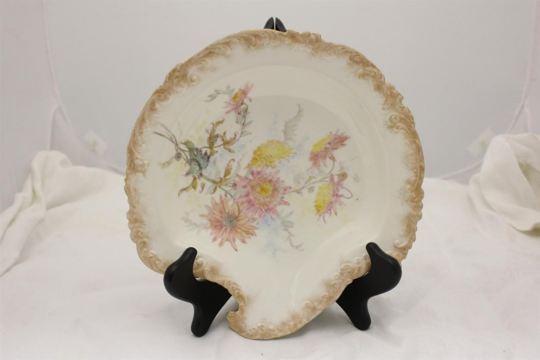 1891 Royal Crown Derby Shell Serving Bowl Chrysanthemum
