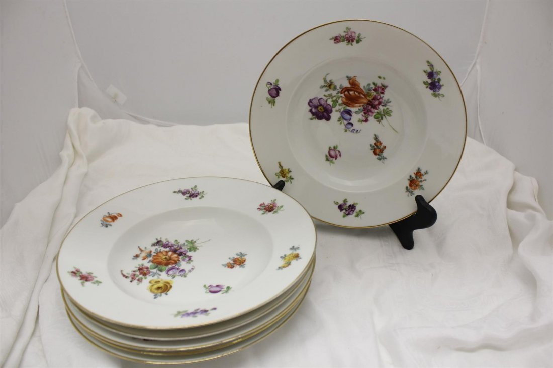 6 Dresden Decorated Floral Pattern Soup Bowls