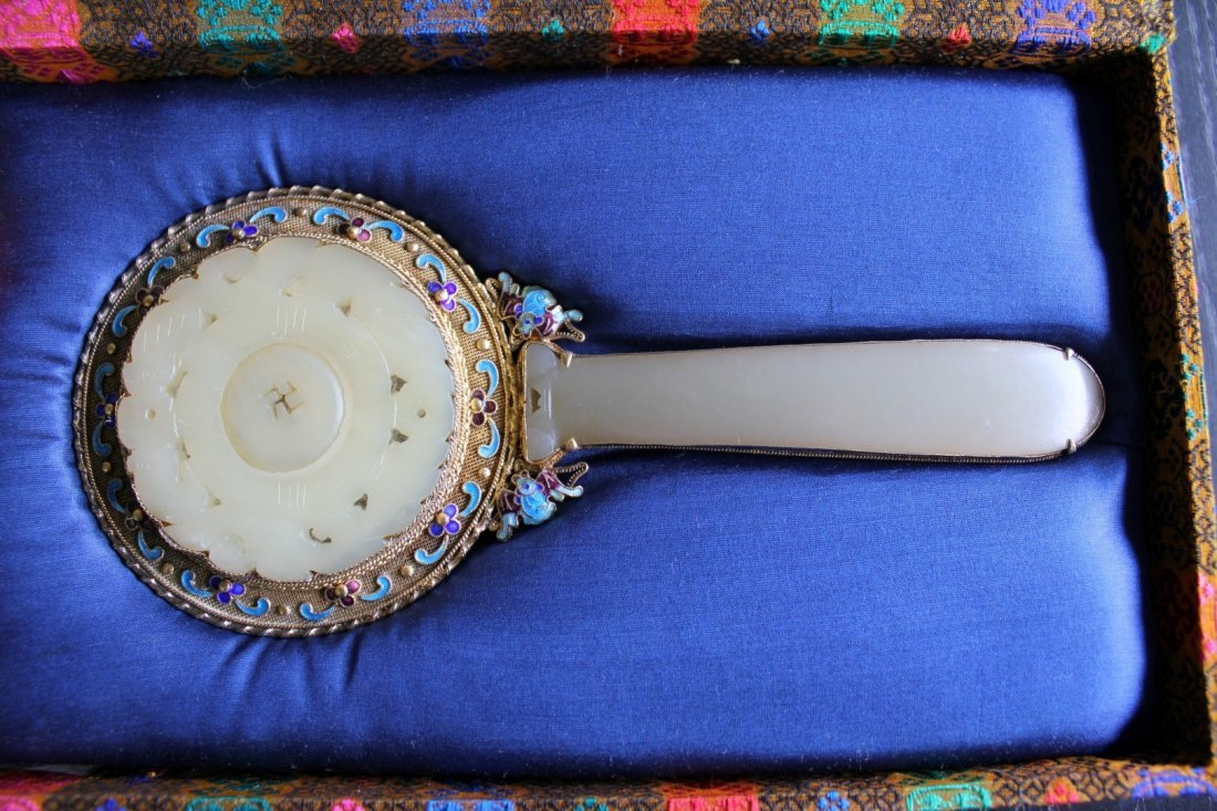 Fine Chinese Gold Gilt & enameled Jade Hand Mirror