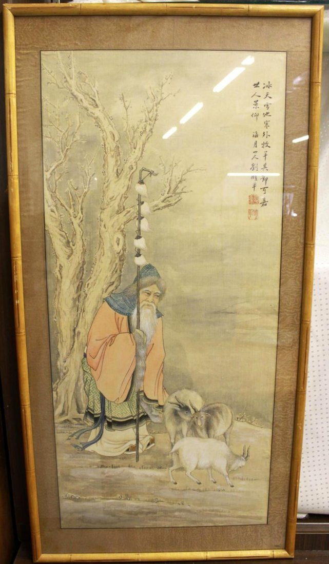 Old Chinese Watercolor on Silk Painting Scroll Old Man