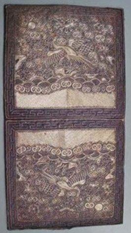 1: A Pair Antique Chinese Silk Badge