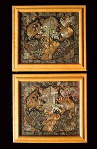 11: A Pair Antique Chinese Silk Badge
