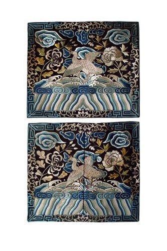 12: A Pair Antique Chinese Silk Badge