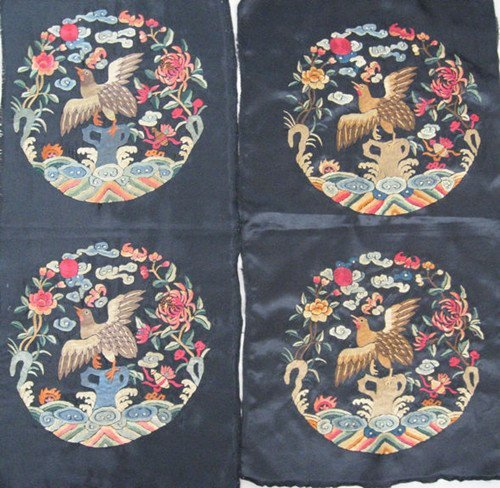 14: Two Pairs of Old Silk Embroidery