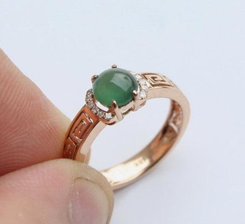 13: Chinese A Grade Icy Jadeite Ring