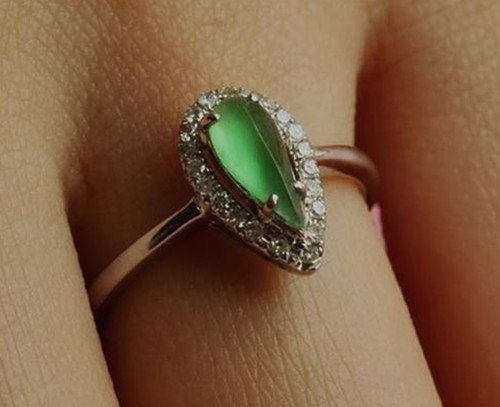 14: Chinese A Grade Icy Jadeite Ring