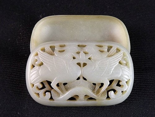13: An Antique White Jade Carved Cosmetic Box