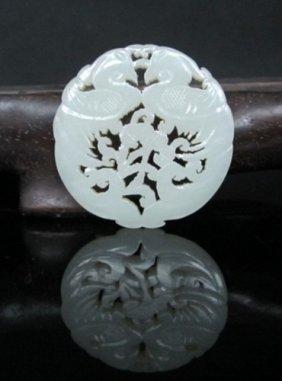 A Fine White Jade Carved Plaque