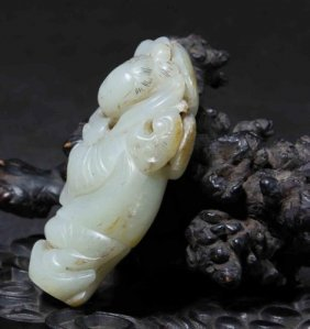 A Ming White Jade Carved Figure