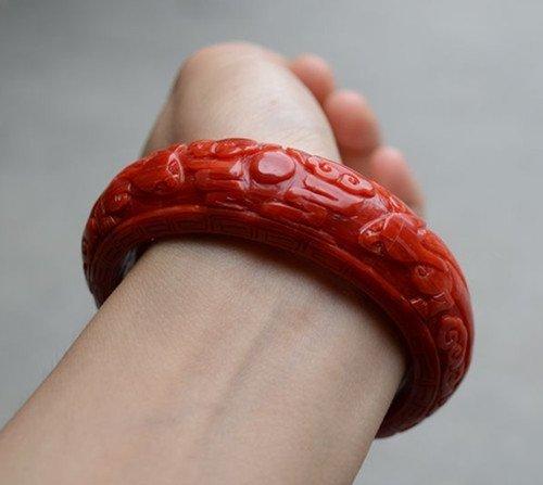 Natural Red Coral Bangle