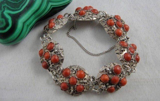 Natural Red Coral Carved Silver Bracelet